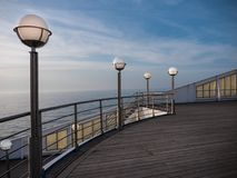 Lamp posts on a ferry deck stock photography