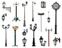 Lamp posts isolated on white background. Streetlight collection. Isolated on white background Royalty Free Stock Image