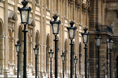 Lamp posts at the Louvre Stock Photos
