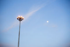 Lamp posts and moon. In Thailand Royalty Free Stock Photography