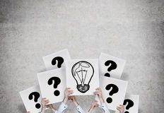 Lamp and question mark Stock Images