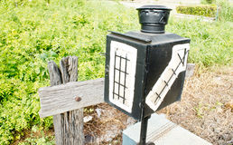 The lamp beside the railway, Signal Train Royalty Free Stock Image