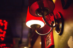 Lamp in retro style in the cafe Stock Images