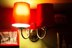 Lamp in retro style in the cafe Royalty Free Stock Photo