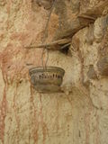 The lamp in the rocks. Antique, night Royalty Free Stock Images