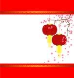 Lamp and Sakura on Chinese New Year Background Stock Image