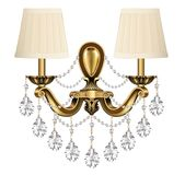lamp, sconce bronze vintage with crystal pendants o Stock Image