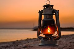 lamp by the sea stock photography