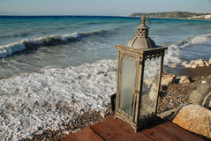 Lamp by the sea. View overlooking the bays of the Mediterranean sea with lamp Royalty Free Stock Images
