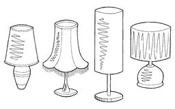Lamp set graphic black white isolated sketch illustration Stock Photography