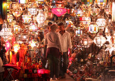 Lamp shop. Market shop selling traditional lamps, Marrakesh, Morocco Royalty Free Stock Photos