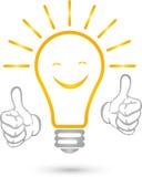 Lamp, smile, electricians, idea, logo, hands. Lamp with smile, electricians, idea logo, lamp with hands Royalty Free Stock Photos