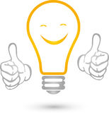Lamp with smile and hands, electrician and idea logo Stock Photos