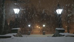 Lamp in the Snowstorm stock video footage