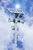 Lamp, Speaker, Solar cell tower Royalty Free Stock Photography