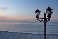 Lamp Stand at sunrise, Menton, France. Europe Stock Photography