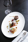Lamp steak with red wine stock photo