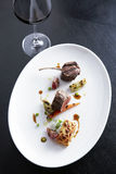 Lamp steak with red wine stock image