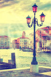 Lamp on the streen at Grand Canal, Venice Royalty Free Stock Photography