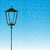 Lamp street. With candle over snow vector illustration Stock Photos