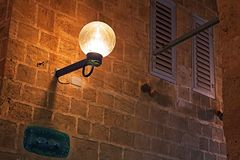 Lamp on street of stone old city Jaffa in Tel Aviv, Israel Royalty Free Stock Images