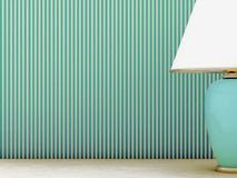 Lamp and striped wallpaper Royalty Free Stock Image