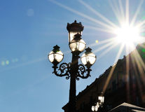Lamp and sun light. In backlight Royalty Free Stock Photo