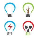 Lamp symbol. Ecological symbols bulb tree lightning and gas mask Royalty Free Stock Photo