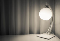 The lamp on the table. Home interior. White lamp on the table Stock Photo
