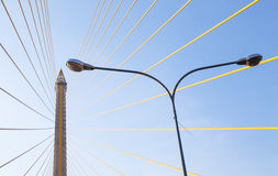 Lamp under the Rama VIII Bridge Stock Photo