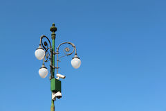 Lamp. Urban street lamp with cameras Royalty Free Stock Photo