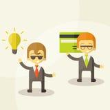 Lamp van ideeconcept, zakenmanpartners Stock Fotografie