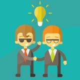 Lamp van ideeconcept, zakenmanpartners Stock Foto