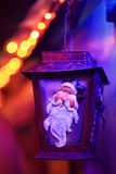 Lamp van Santa Lantern van Kerstmis de feestelijke lichten Royalty-vrije Stock Afbeeldingen
