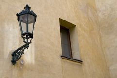 Lamp and window in prague. Light at the prague castle Stock Photography