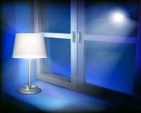 Lamp in the window. Vector illustration. Stock Photo
