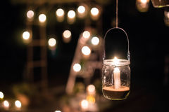 Free Lamp With Candle Is Hanging On A Tree At Night. Wedding Nigh Stock Photography - 64195082