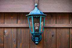 Lamp on a Wood Fence Stock Photos