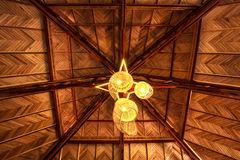 Lamp on wood roof. The lamp on wood roof cover hall Stock Image