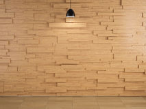 Lamp and wood wall design and floor background Royalty Free Stock Photo