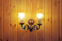 Lamp on a wooden wall Royalty Free Stock Photos