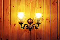 Lamp on a wooden wall Royalty Free Stock Photography