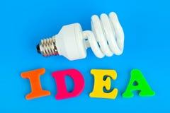 Lamp and word Idea Stock Photos