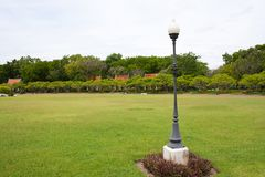Lamp on the yard in the park Stock Images