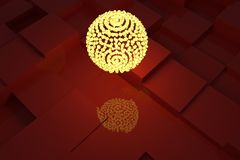 A lamp with yellow light, red cubes as background. Design, black, generative & abstract. royalty free illustration