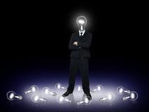 lampa för kulaaffärsmanhuvud royaltyfria bilder