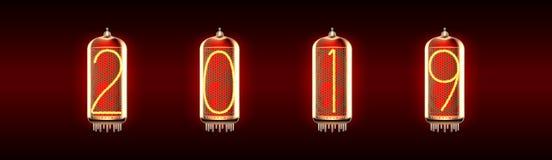Lampa för Nixie rörindikator med nummer vektor illustrationer