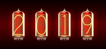 Lampa för Nixie rörindikator med nummer stock illustrationer