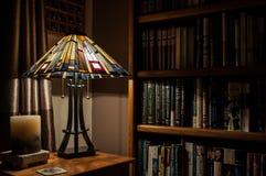 Lampa i półka na książki Zdjęcia Royalty Free