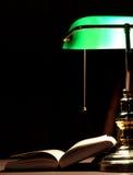 lampa książkowy elektryczny zielony stół Obraz Stock